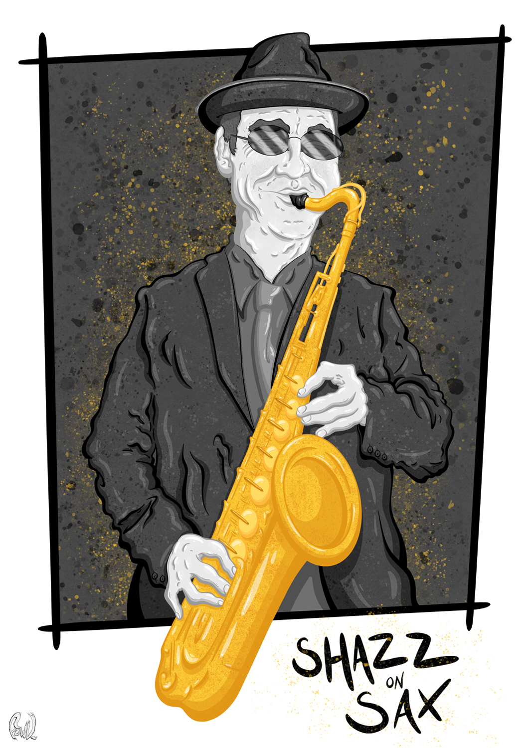 Musician playing saxophone, illustration